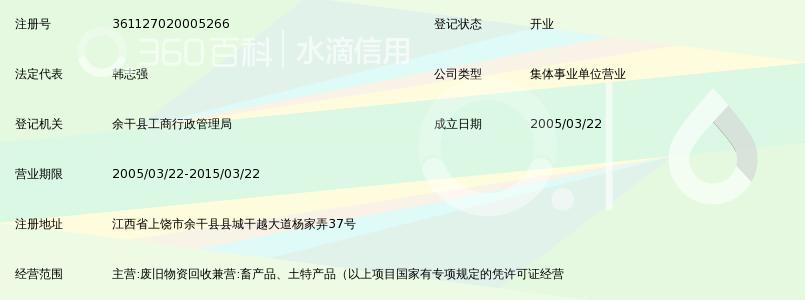 余干县土产棉麻再生资源公司收购门市部